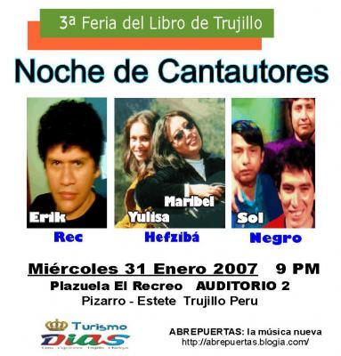 HEFZIBA, ERIK REC y SOL NEGRO: 31 Enero en Feria del Libro Trujillo